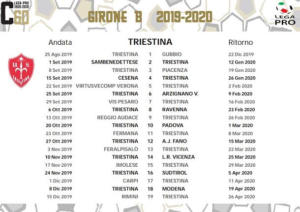 Calendario Serie A 15 Ottobre.Triestina Il Calendario Completo Ottobre E Novembre Di